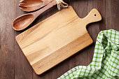 Cooking utensils on wooden table. Top view
