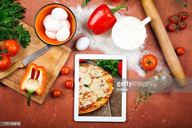 Kochen mit digitalen Tablet