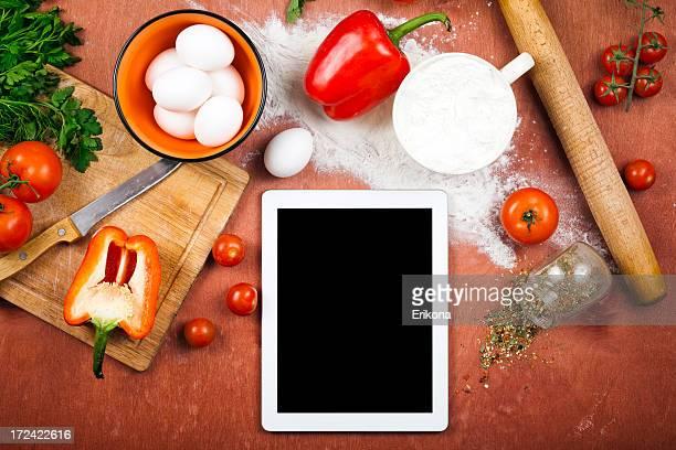 Kochen mit digitalen Tablet