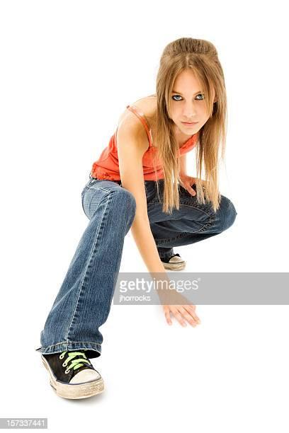 Cool Casual Crouching Teen