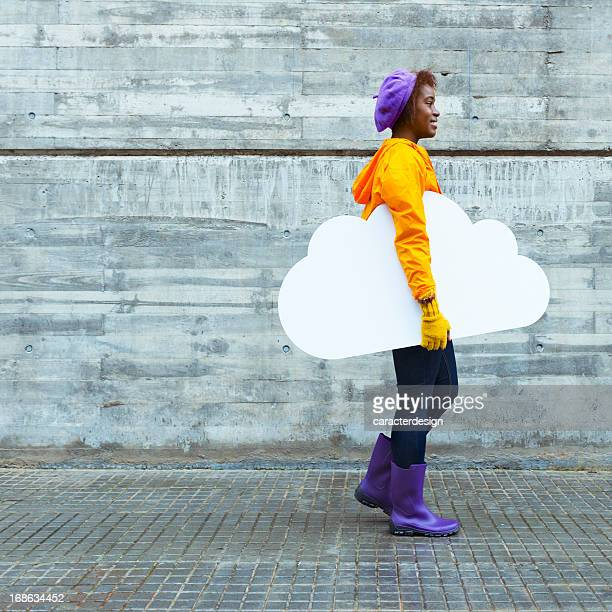 Cool girl and cloud computing concept