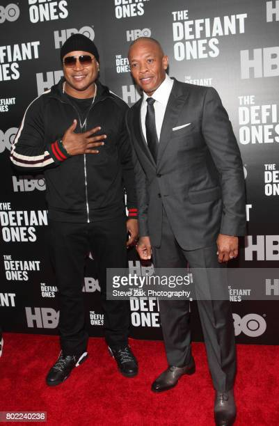 Cool J and Dr Dre attend 'The Defiant Ones' premiere at Time Warner Center on June 27 2017 in New York City