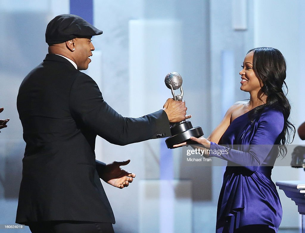Cool J (L) and Meagan Good attend the 44th NAACP Image Awards - show held at The Shrine Auditorium on February 1, 2013 in Los Angeles, California.