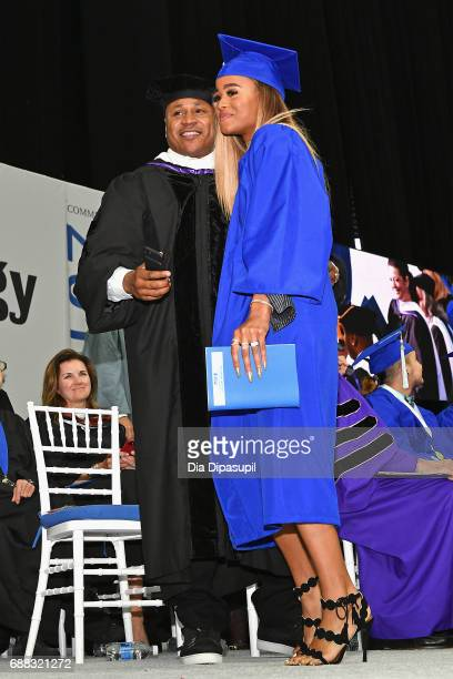 Cool J and Samaria Leah Smith onstage during The Fashion Institute of Technology's 2017 Commencement Ceremony at Arthur Ashe Stadium on May 25 2017...