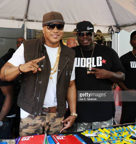 Cool J and WorldStar Hip Hop CEO Lee O'Denat attend the 2nd Annual Worldstar Foundation Back To School Giveaway at Jamaica Colosseum Mall on August...
