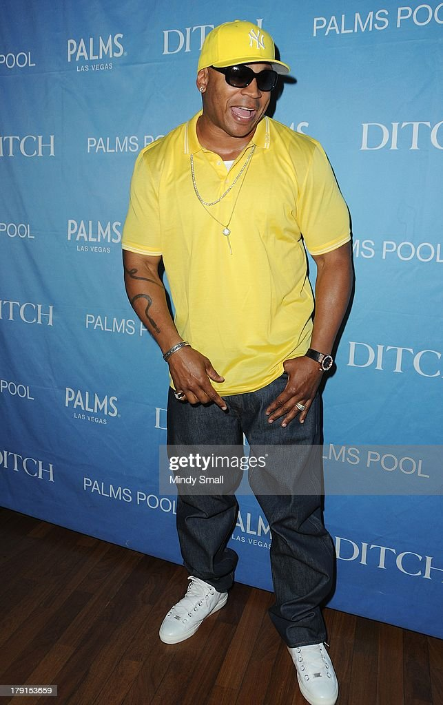 <a gi-track='captionPersonalityLinkClicked' href=/galleries/search?phrase=LL+Cool+J&family=editorial&specificpeople=201567 ng-click='$event.stopPropagation()'>LL Cool J</a> arrives at 'Ditch Saturdays' at Ditch Pool & Dayclub at Palms Casino Resort on August 31, 2013 in Las Vegas, Nevada.