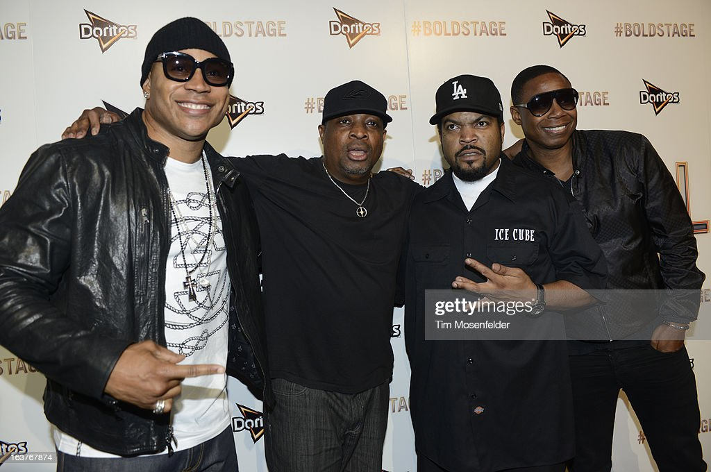 <a gi-track='captionPersonalityLinkClicked' href=/galleries/search?phrase=LL+Cool+J&family=editorial&specificpeople=201567 ng-click='$event.stopPropagation()'>LL Cool J</a>, Mike D, Ice Cube, and <a gi-track='captionPersonalityLinkClicked' href=/galleries/search?phrase=Doug+E.+Fresh&family=editorial&specificpeople=207004 ng-click='$event.stopPropagation()'>Doug E. Fresh</a> pose at the Doritos Boldstage Event on March 14, 2013 in Austin, Texas.