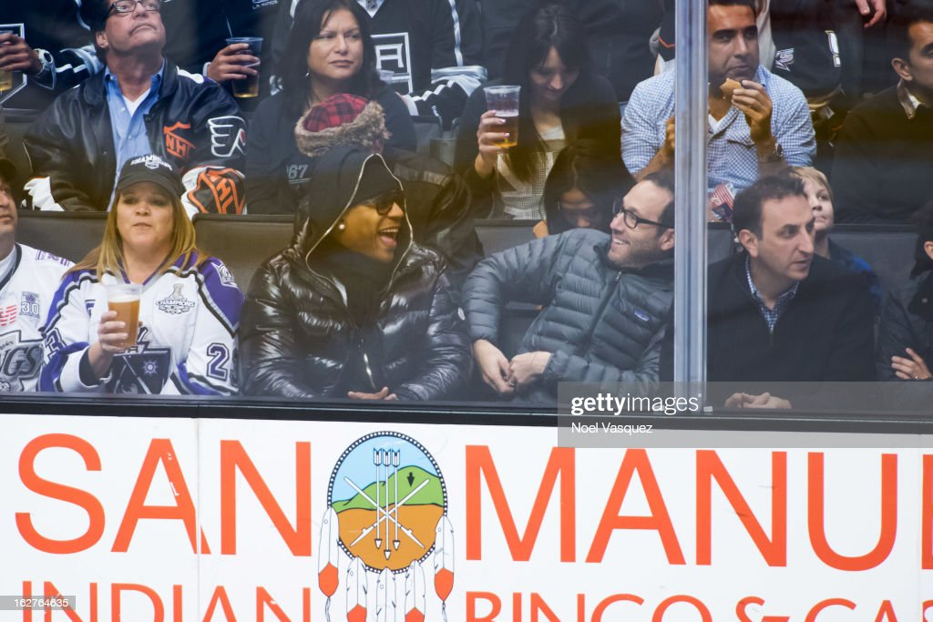 <a gi-track='captionPersonalityLinkClicked' href=/galleries/search?phrase=LL+Cool+J&family=editorial&specificpeople=201567 ng-click='$event.stopPropagation()'>LL Cool J</a> is sighted at a hockey game between the Anahiem Ducks and Los Angeles Kings at Staples Center on February 25, 2013 in Los Angeles, California.