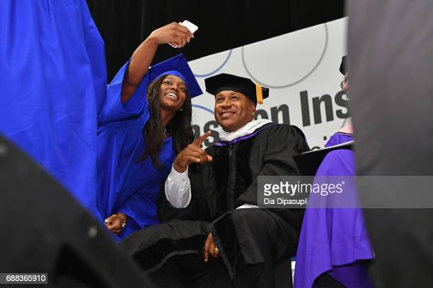 Cool J poses for a selfie onstage during The Fashion Institute of Technology's 2017 Commencement Ceremony at Arthur Ashe Stadium on May 25 2017 in...