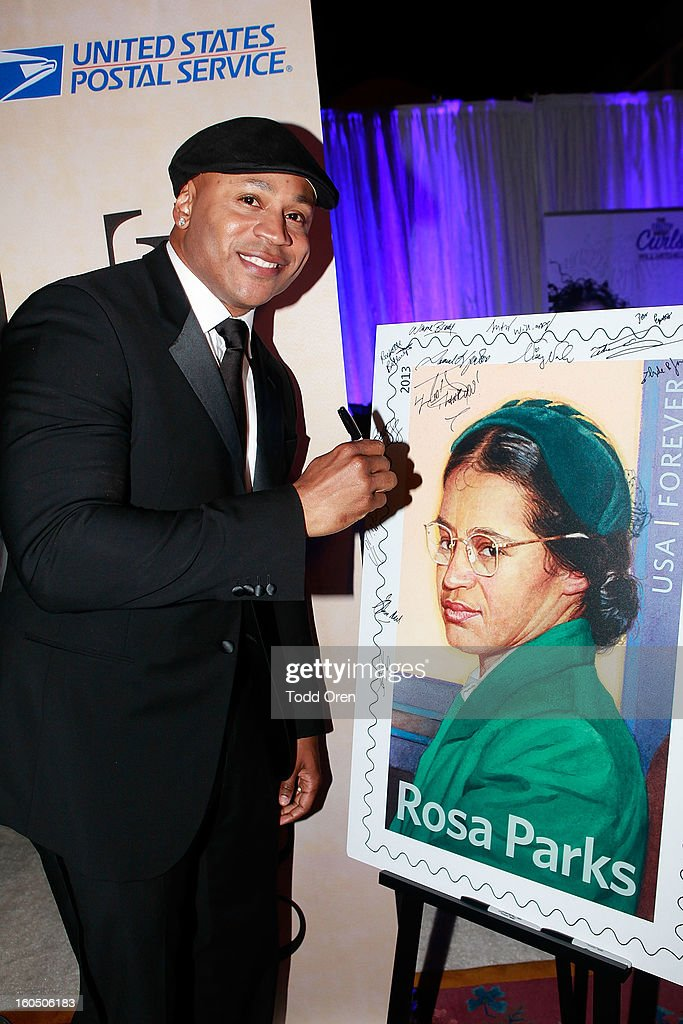 <a gi-track='captionPersonalityLinkClicked' href=/galleries/search?phrase=LL+Cool+J&family=editorial&specificpeople=201567 ng-click='$event.stopPropagation()'>LL Cool J</a> previews the Rosa Parks Forever Stamp in the U.S. Postal Service Civil Rights Stamp Gallery backstage at the NAACP Image Awards on February 1, 2013 at The Shrine Auditorium.