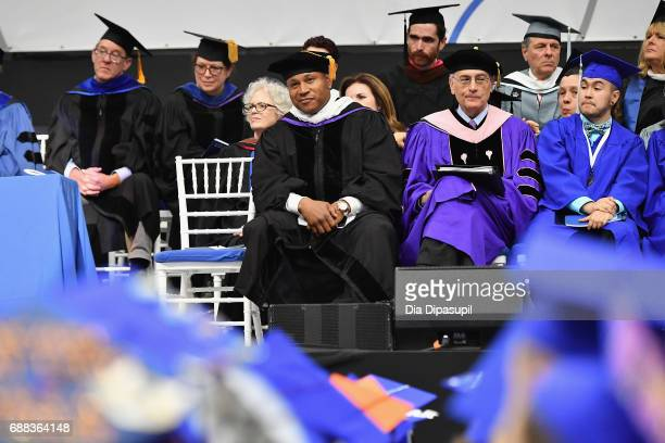 Cool J sites on the stage during The Fashion Institute of Technology's 2017 Commencement Ceremony at Arthur Ashe Stadium on May 25 2017 in New York...