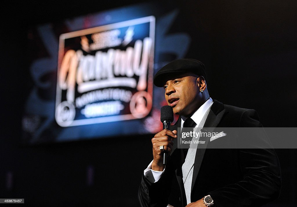 <a gi-track='captionPersonalityLinkClicked' href=/galleries/search?phrase=LL+Cool+J&family=editorial&specificpeople=201567 ng-click='$event.stopPropagation()'>LL Cool J</a> speaks onstage during the rehearsals for The GRAMMY Nominations Concert Live!! Countdown to Music's Biggest Night at Nokia Theatre L.A. Live on December 5, 2013 in Los Angeles, California.