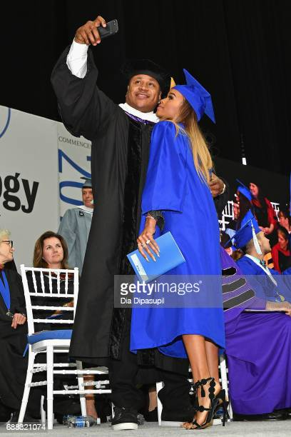 Cool J takes a selfie with daughter Samaria Leah Smith as she graduates during The Fashion Institute of Technology's 2017 Commencement Ceremony at...