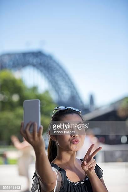 Cool woman taking a selfie