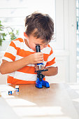 young boy  is working with the microscope and examines different things