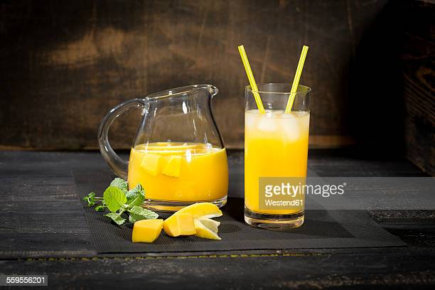Cooled soft drink made of mango, lemon and mint
