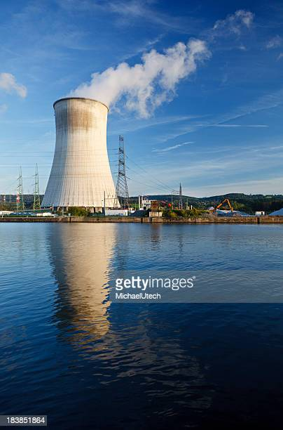 Cooling Tower Of Nuclear Power Station At River