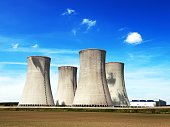Cooling tower with clouds, nuclear power plant Dukovanz, Cyech Republic