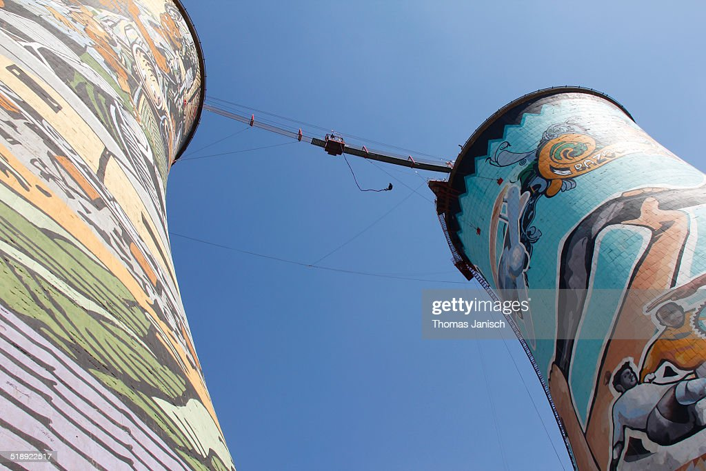 Cooling Towers of Orlando Power Station and bungy jump at Soweto Joburg South Africa
