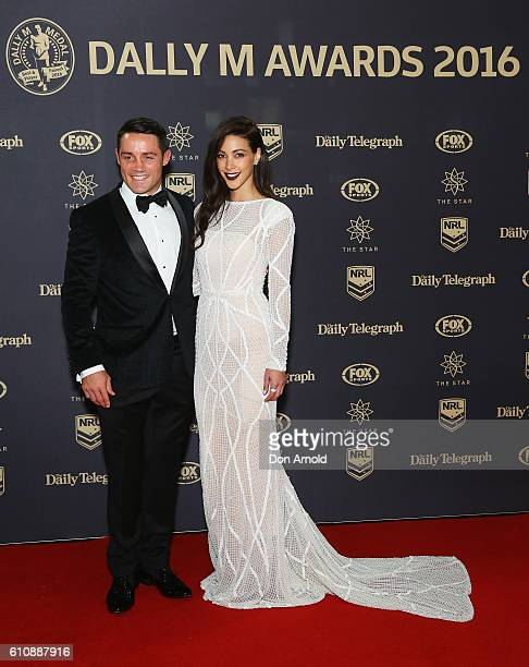 Cooper Cronk and Tara Rushton arrive at the 2016 Dally M Awards at Star City on September 28 2016 in Sydney Australia