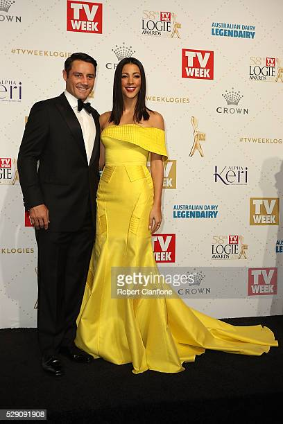 Cooper Cronk and Tara Rushton arrive at the 58th Annual Logie Awards at Crown Palladium on May 8 2016 in Melbourne Australia