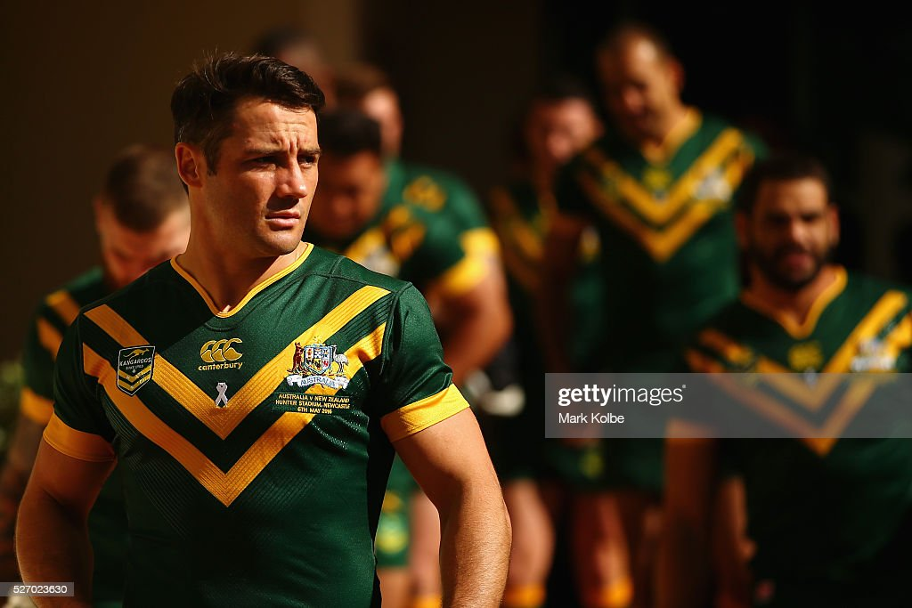 Cooper Cronk looks on as he arrives with his team mates for the Australia Kangaroos Test team photo session at Crowne Plaza Coogee on May 2, 2016 in Sydney, Australia.
