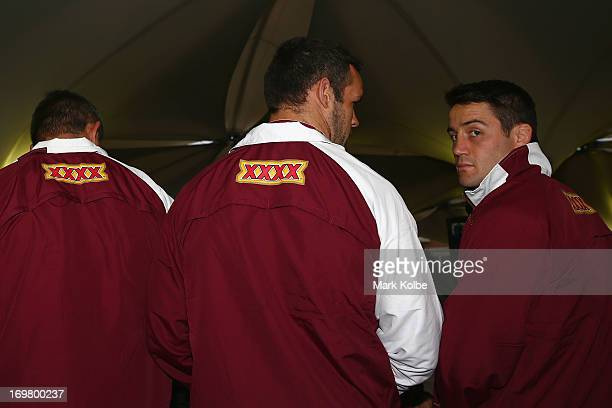 Cooper Cronk looks on at the Queensland Maroons fan day at the Entertainment Quarter on June 2 2013 in Sydney Australia