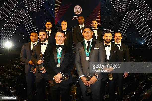 Cooper Cronk of the Melbourne Storm and Jason Taumalolo of the North Queensland Cowboys pose after being announced joint winners of the 2016 Dally M...