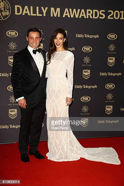 Cooper Cronk of the Storm and partner Tara Rushton arrive at the 2016 Dally M Awards at Star City on September 28 2016 in Sydney Australia
