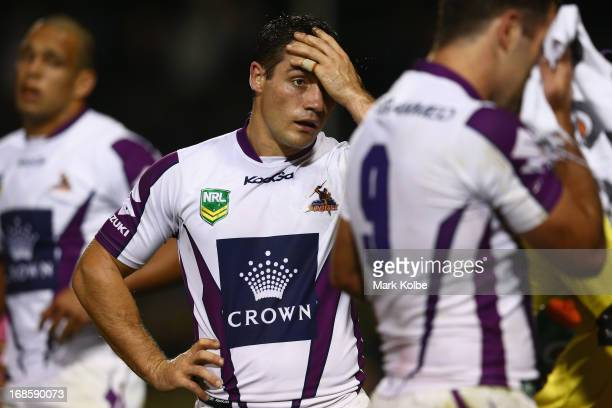 Cooper Cronk of the Storm looks dejected after a first half Panthers try during the round nine NRL match between the Penrith Panthers and the...