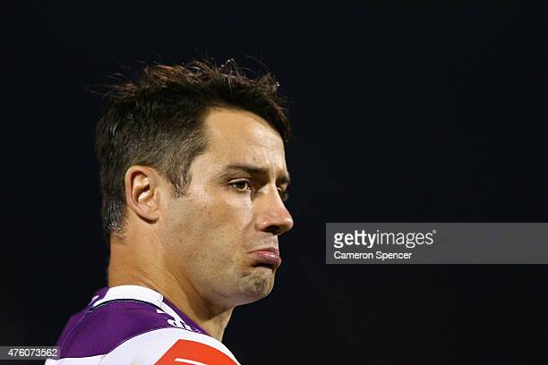 Cooper Cronk of the Storm looks on during the round 13 NRL match between the Penrith Panthers and the Melbourne Storm at Pepper Stadium on June 6...