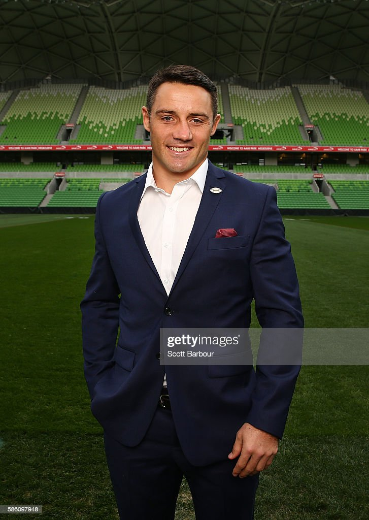Cooper Cronk of the Storm poses during a Melbourne Storm NRL media opportunity at AAMI Park on August 5, 2016 in Melbourne, Australia. Cronk re-signed with the Storm until the end of 2018.