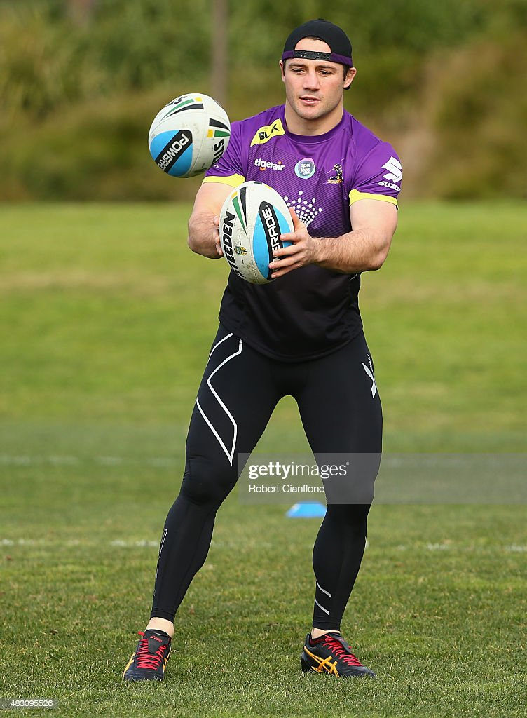 Cooper Cronk of the Storm warms up during a Melbourne Storm media session at Gosch's Paddock on August 6, 2015 in Melbourne, Australia.