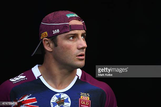 Cooper Cronk walks out to the field for a Queensland Maroons State of Origin training session at ANZ Stadium on May 26 2015 in Sydney Australia