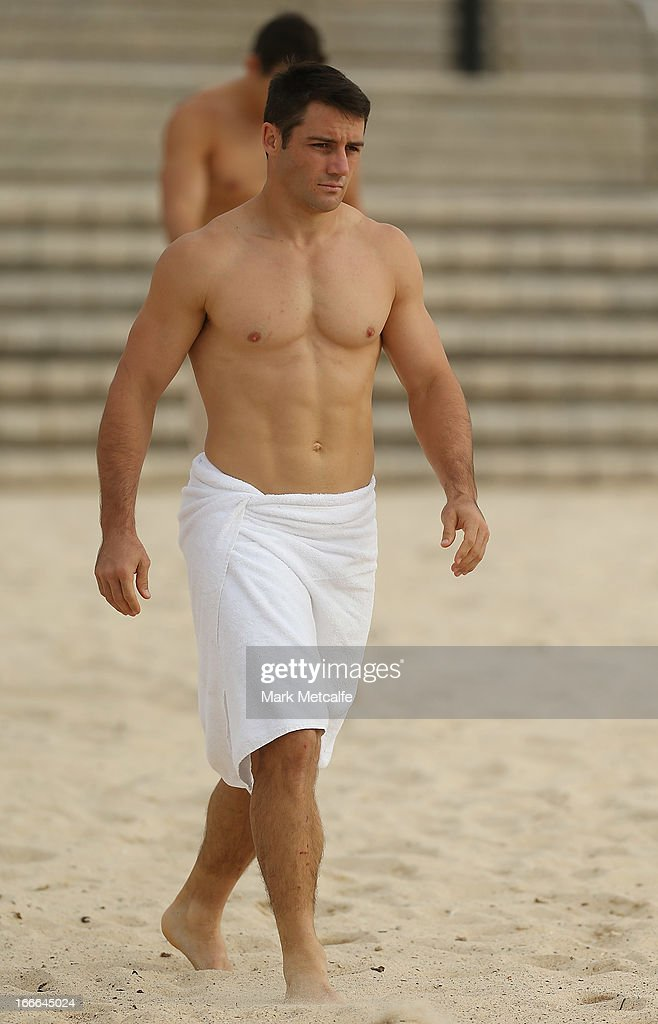 Cooper Cronk walks to the ocean during an Australian Kangaroos training session at Coogee Beach on April 15, 2013 in Sydney, Australia.