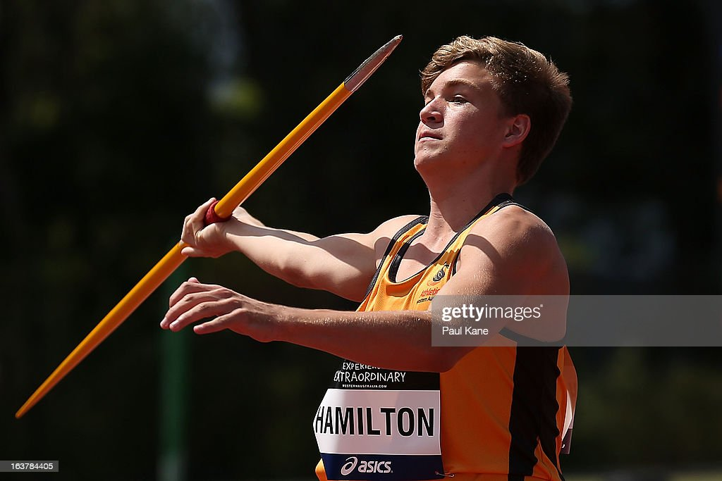Cooper Hamilton of Western Australia competes in the men's u16 javelin throw during day five of the Australian Junior Championships at the WA Athletics Stadium on March 16, 2013 in Perth, Australia.