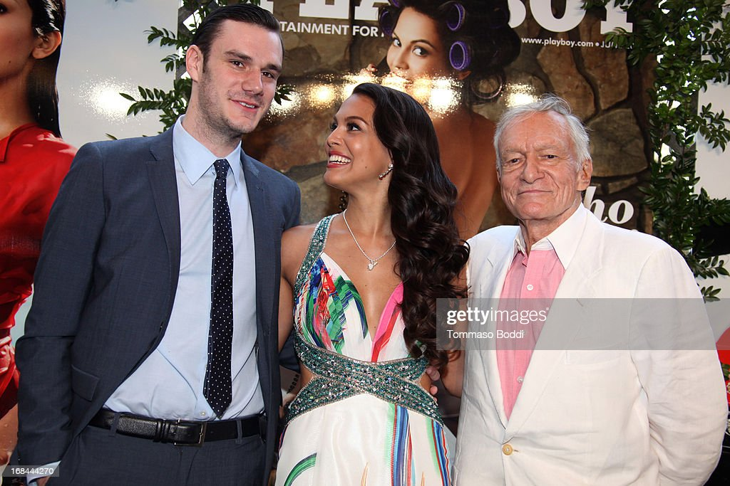 Cooper Hefner, 2013 Playmate Of The Year Raquel Pomplun and founder Playboy Enterprises <a gi-track='captionPersonalityLinkClicked' href=/galleries/search?phrase=Hugh+Hefner&family=editorial&specificpeople=202106 ng-click='$event.stopPropagation()'>Hugh Hefner</a> attend the 2013 Playboy Playmate of the Year announcement and reception held at The Playboy Mansion on May 9, 2013 in Beverly Hills, California.