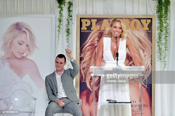 Cooper Hefner and 2015 Playmate of the Year Dani Mathers speak onstage during Playboy's 2015 Playmate of the Year Ceremony at the Playboy Mansion on...