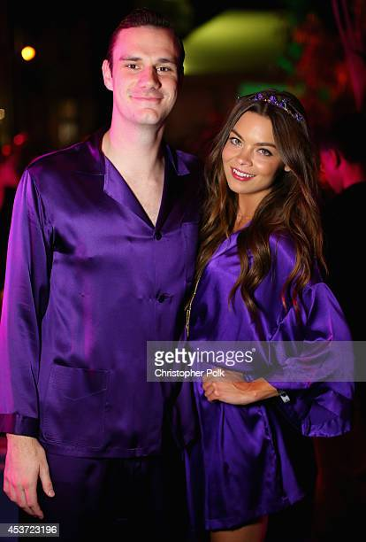 Cooper Hefner and actress Scarlettt Byrne attend the Annual Midsummer Night's Dream Party at the Playboy Mansion hosted by Hugh Hefner on August 16...