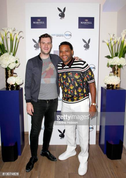 Cooper Hefner and Anthony Anderson attend the Talent Resources Sports Party hosted by Martell Cognac at Playboy Headquarters on July 11 2017 in Los...