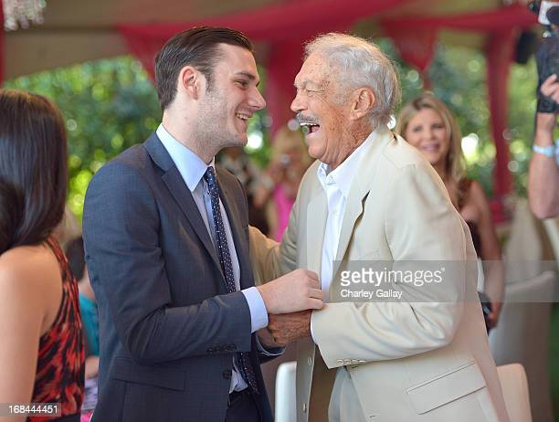 Cooper Hefner and Keith Hefner attend Playboy's 2013 Playmate Of The Year luncheon honoring Raquel Pomplun at The Playboy Mansion on May 9 2013 in...