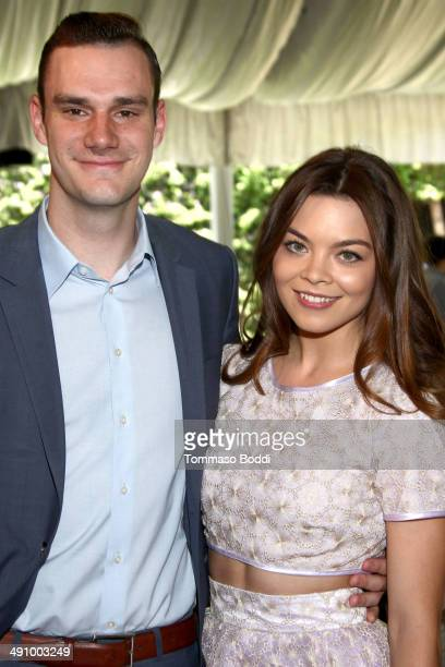 Cooper Hefner and Scarlett Byrne attend the Playboy's 2014 'Playmate Of The Year' announcement luncheon held at The Playboy Mansion on May 15 2014 in...