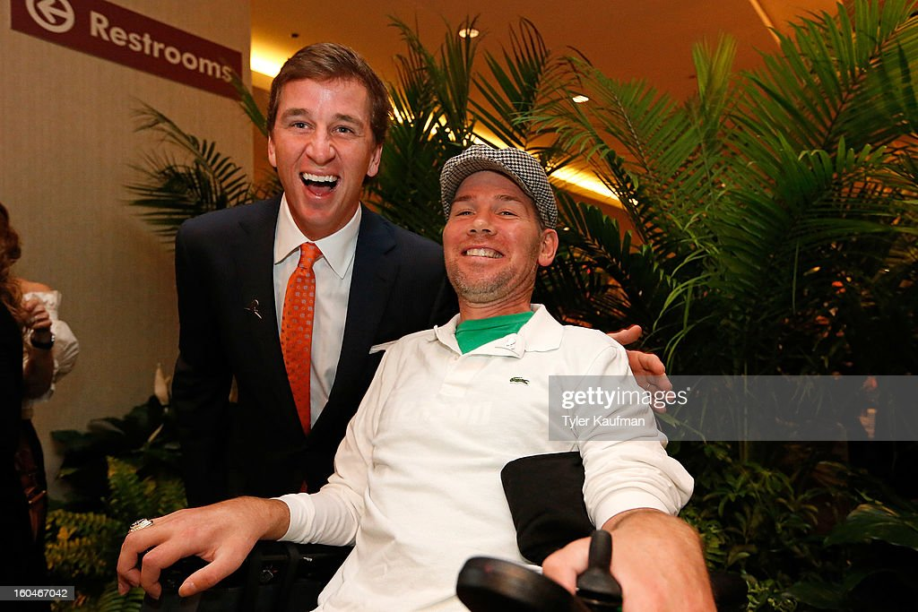 Cooper Manning and former New Orleans Saint <a gi-track='captionPersonalityLinkClicked' href=/galleries/search?phrase=Steve+Gleason&family=editorial&specificpeople=749005 ng-click='$event.stopPropagation()'>Steve Gleason</a> attend the 2013 Legends For Charity Dinner Honoring Archie Manning at the Hyatt Regency New Orleans on January 31, 2013 in New Orleans, Louisiana.