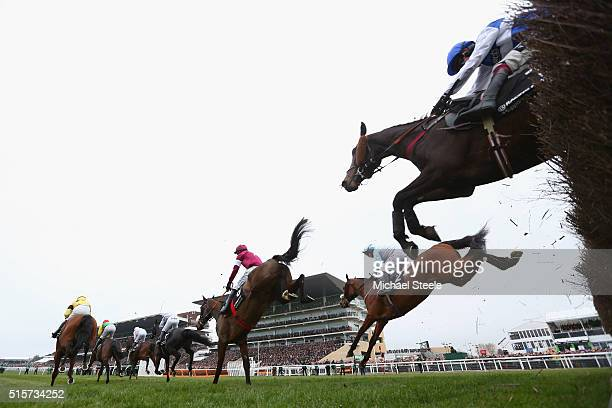 Cooper on The Game Changer and Noel Fehily on Baltimore Rock during the Racing Post Arkle Challenge Trophy Steeplechase during the Champion Day at...
