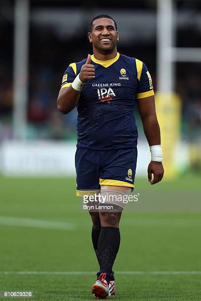 Cooper Vuna of Worcester Warriors looks on during the Aviva Premiership match between Worcester Warriors and Sale Sharks at Sixways Stadium on...