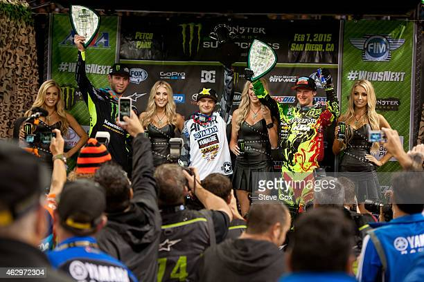 Cooper Webb Shane McElrath and Tyler Bowers celebrate on the 250cc podium at the Monster Energy Supercross at Petco Park on February 7 2015 in San...