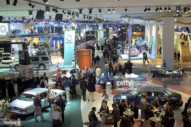 Looking through the Ford exhibit from one end of the two storey display at the North American International Auto Show in Cobo Hall in downtown...