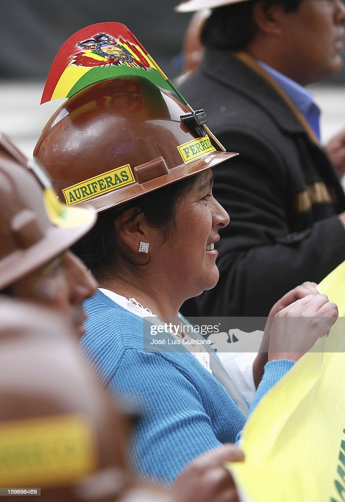 A cooperative miner parade at the Plaza Murillo on the third anniversary of the foundation of the Plurinational State of Bolivia on January 22, 2013 in La Paz, Bolivia.
