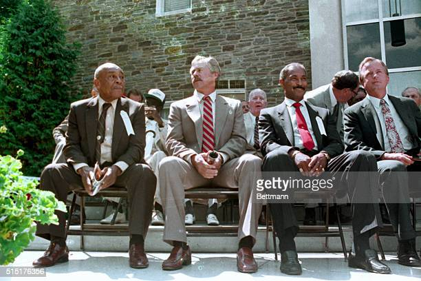 Ray Dandridge Catfish Hunter and Billy Williams are introduced to fans at the start of the Baseball Hall of Fame indiction ceremonies in Cooperstown...