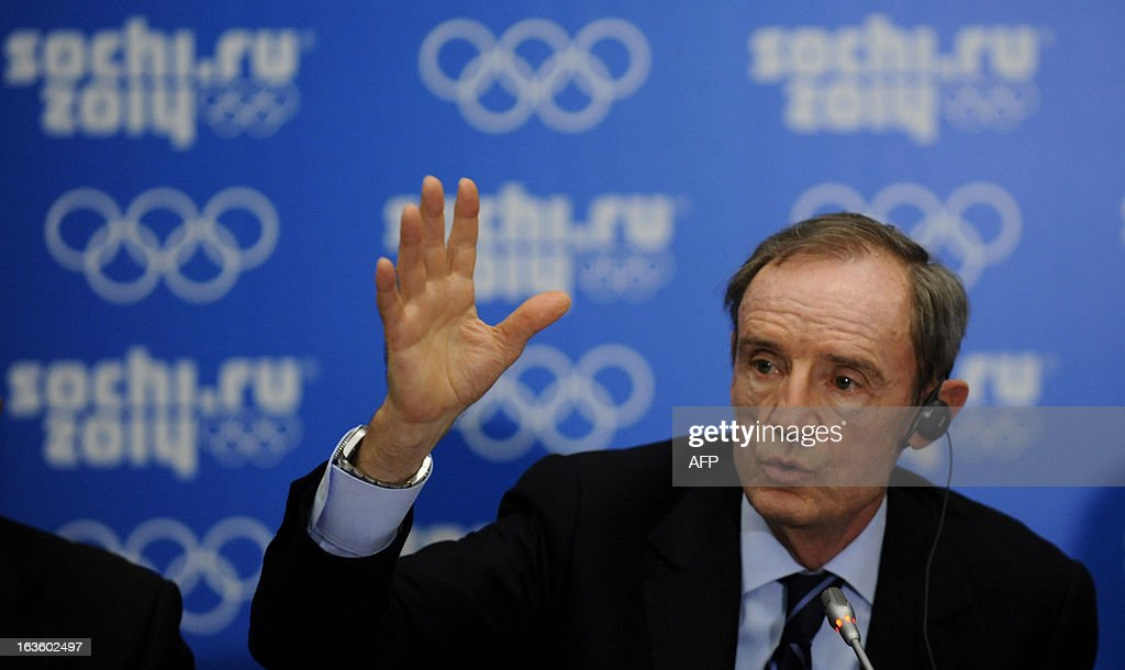 IOC Coordination Commission Chairman Jean-Claude Killy attends a press conference on the results of the IOC Coordination Commission's 9th meeting for the XXII Olympic Winter Games in the Russian Black Sea resort of Sochi on March 13, 2013.